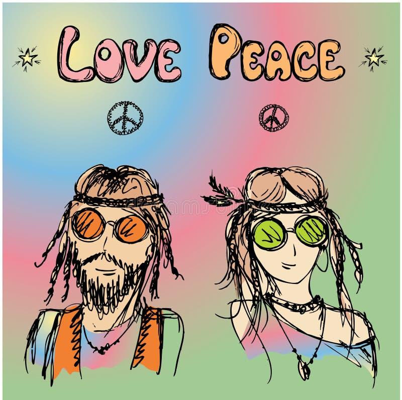 Hippy amichevole delle coppie con capelli lunghi illustrazione di stock