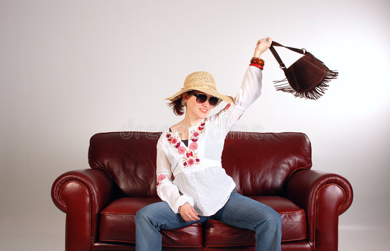 Download Hippy girl 2 stock photo. Image of female, couch, cool - 158804