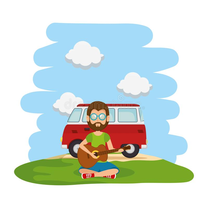 Hippy man playing guitar with van in the landscape. Vector illustration design vector illustration