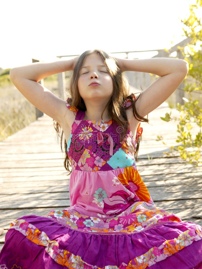 Hippy Purple Dress Teen Girl Relaxed Outdoors Royalty Free Stock Photo