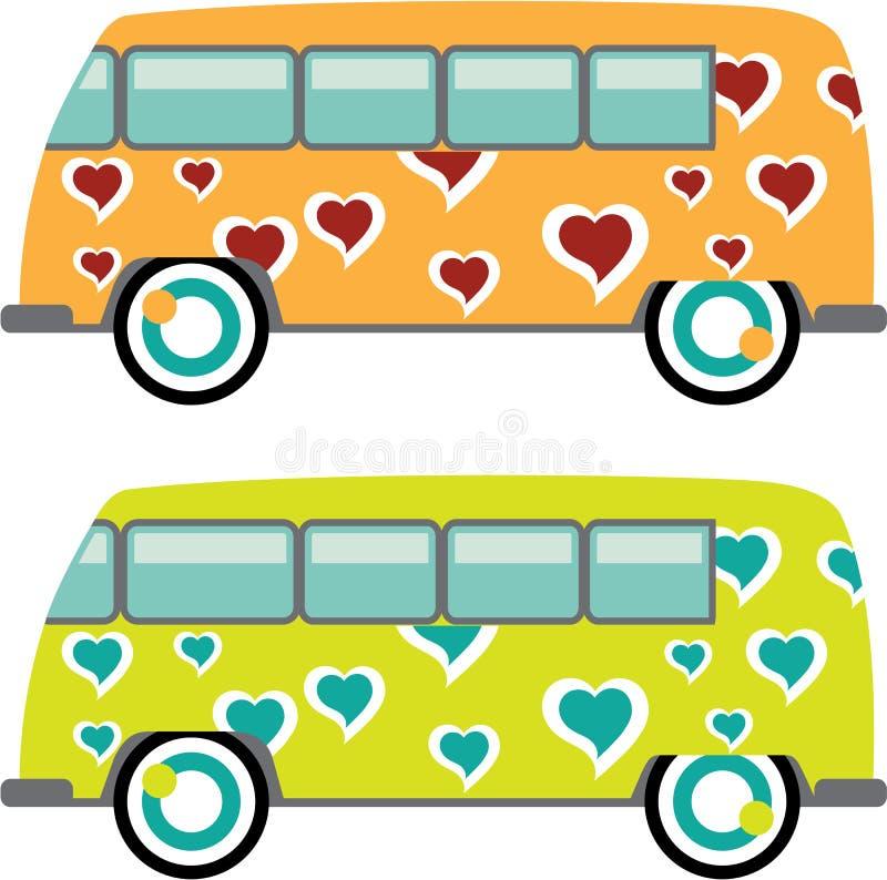 Hippy Skåpbil vektor royaltyfri illustrationer