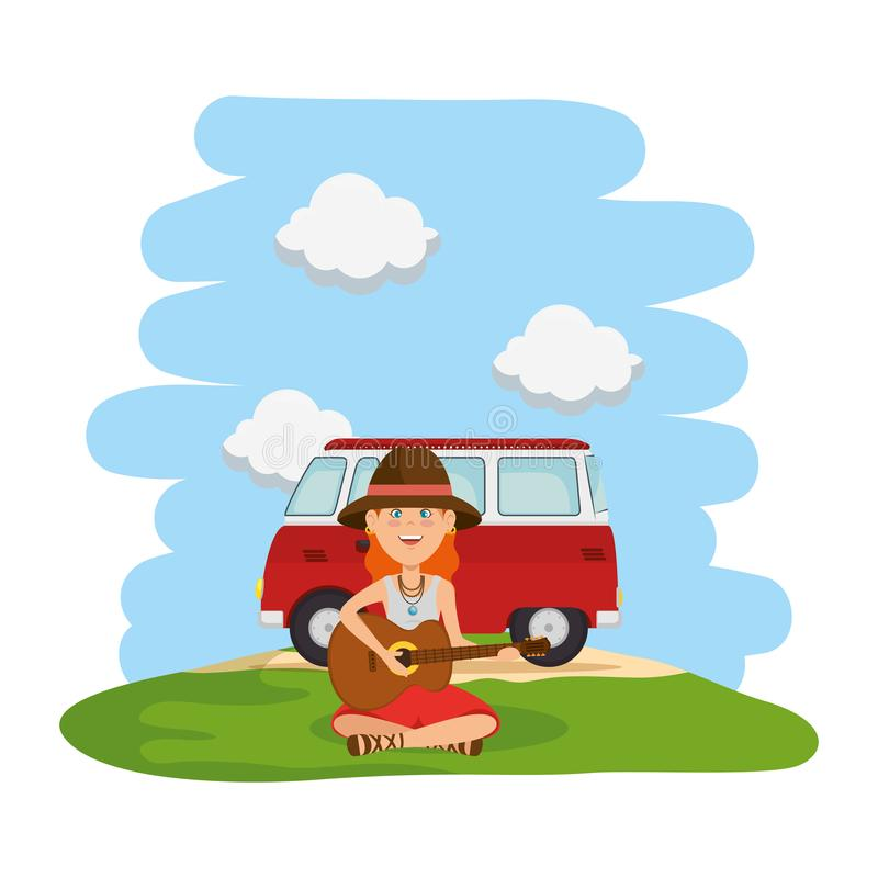 Hippy woman playing guitar with van in the field. Vector illustration design royalty free illustration