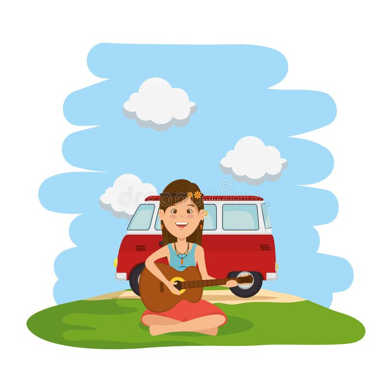 Hippy woman playing guitar with van in the field. Vector illustration design stock illustration