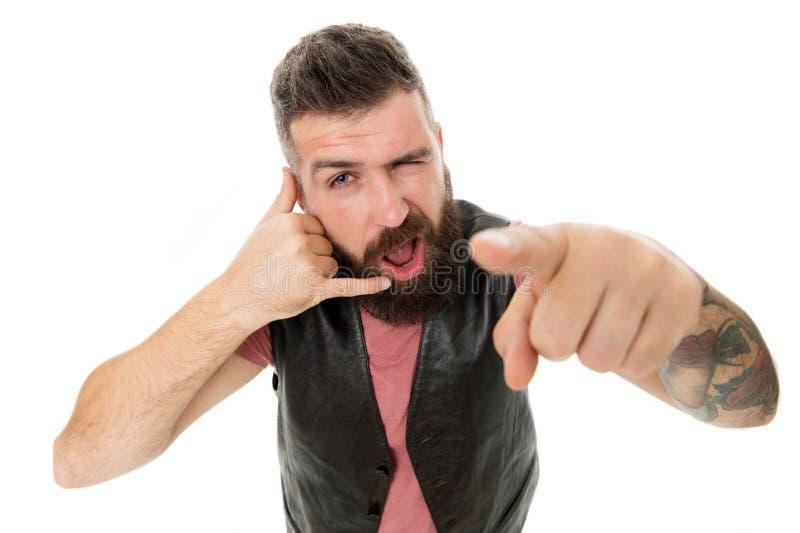Hipster με τη μακροχρόνια συνομιλία συμβόλων γενειάδων Κινητή κλήση Κινητή επικοινωνία Γενειοφόρος κύριος hipster τύπων στοκ φωτογραφία με δικαίωμα ελεύθερης χρήσης