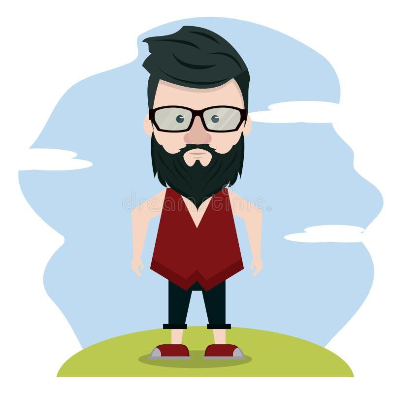 Hipster πέρα από το τοπίο διανυσματική απεικόνιση