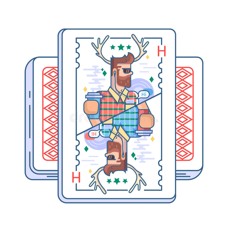 Hipster στην κάρτα παιχνιδιού διανυσματική απεικόνιση