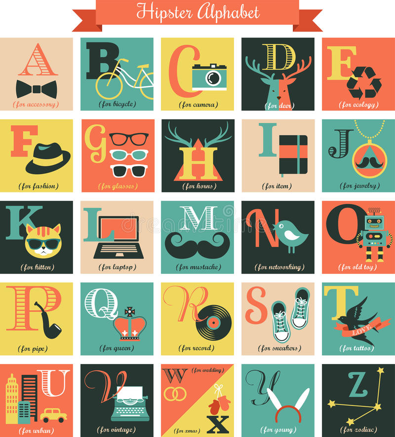 Free Hipster Alphabet Concept Background With Icons Stock Photos - 35598323