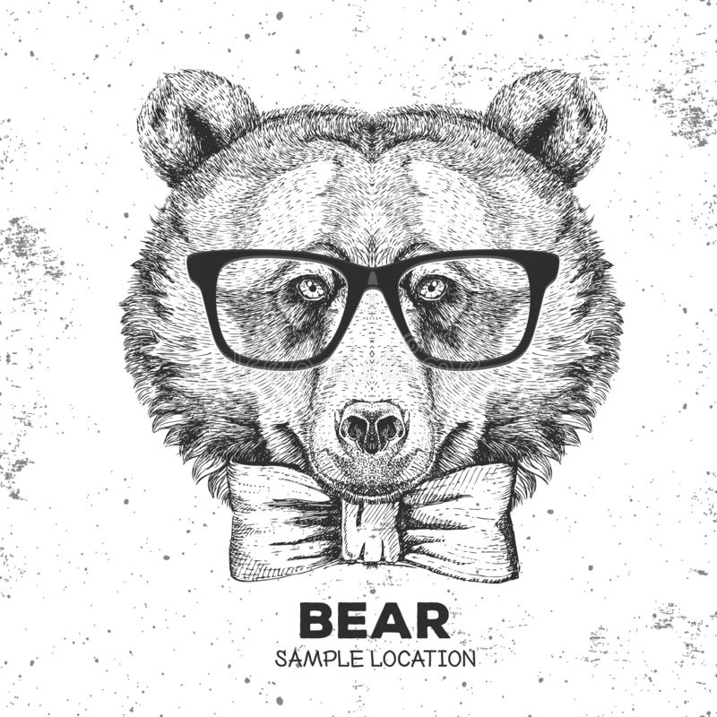 Hipster animal bear. Hand drawing Muzzle of animal dog. Hipster animal bear. Hand drawing Muzzle of animal bear royalty free illustration
