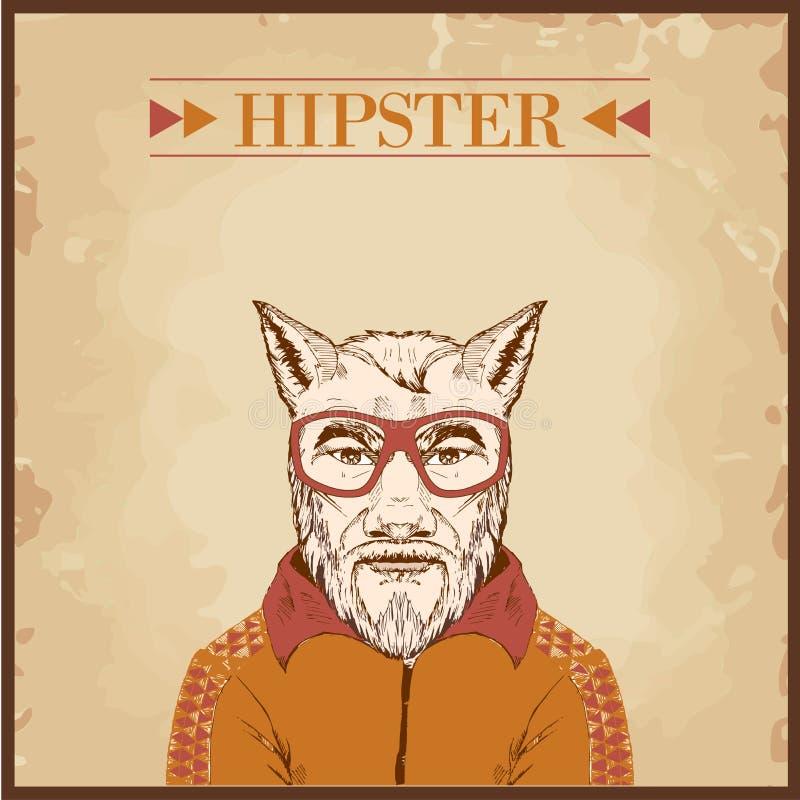 hipster animal charcter stock illustration