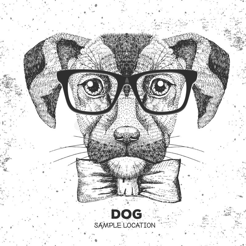 Hipster animal dog. Hand drawing Muzzle of dog. Hipster dog. Hand drawing Muzzle of dog vector illustration