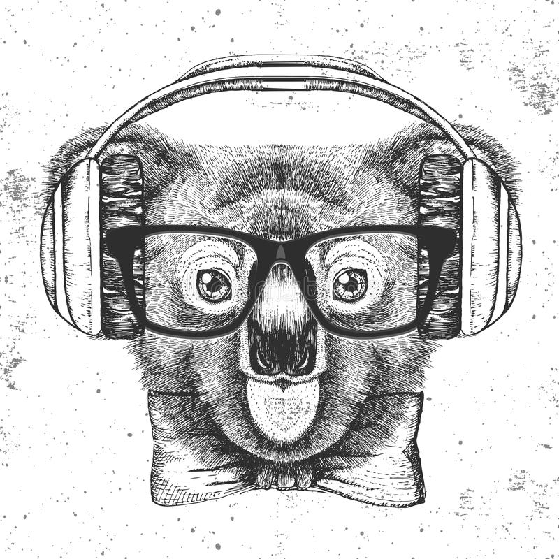 Hipster animal koala. Hand drawing Muzzle of koala. Retro Hipster animal koala. Hand drawing Muzzle of koala vector illustration