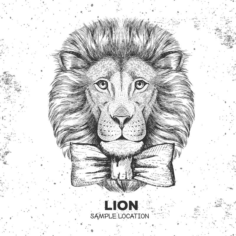 Hipster animal lion. Hand drawing Muzzle of lion. Hipster lion. Hand drawing Muzzle of lion royalty free illustration