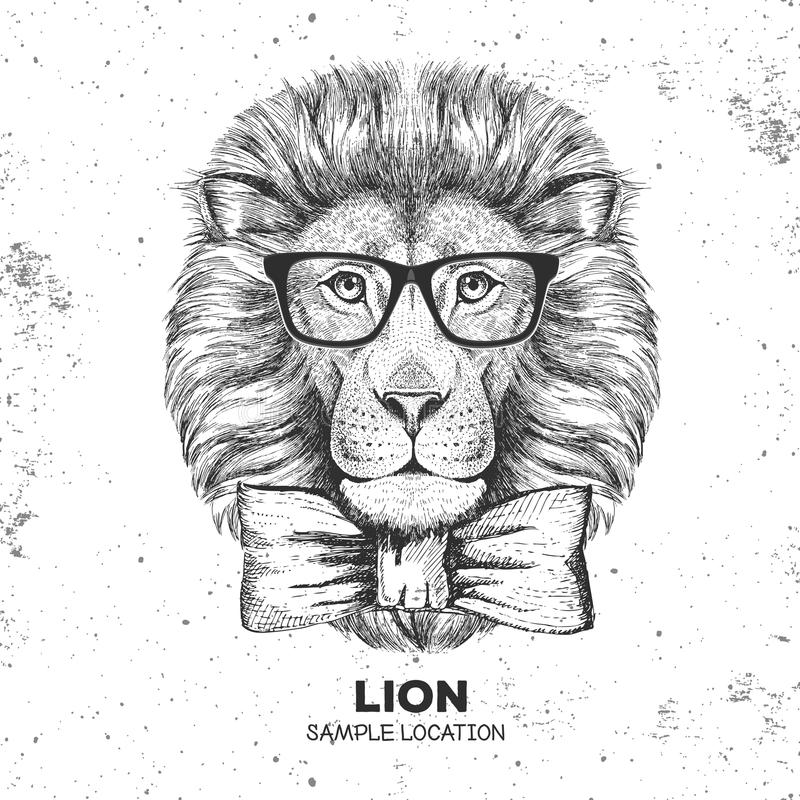 Hipster animal lion. Hand drawing Muzzle of lion. Hipster lion. Hand drawing Muzzle of lion vector illustration
