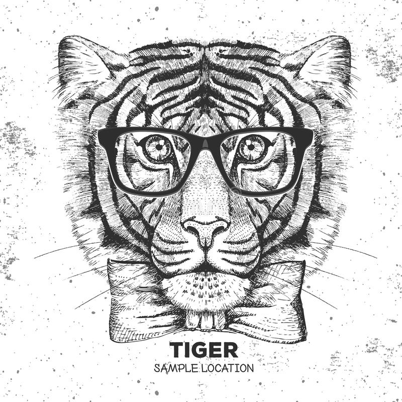 Hipster animal tiger. Hand drawing Muzzle of tiger. Hipster tiger. Hand drawing Muzzle of tiger stock illustration