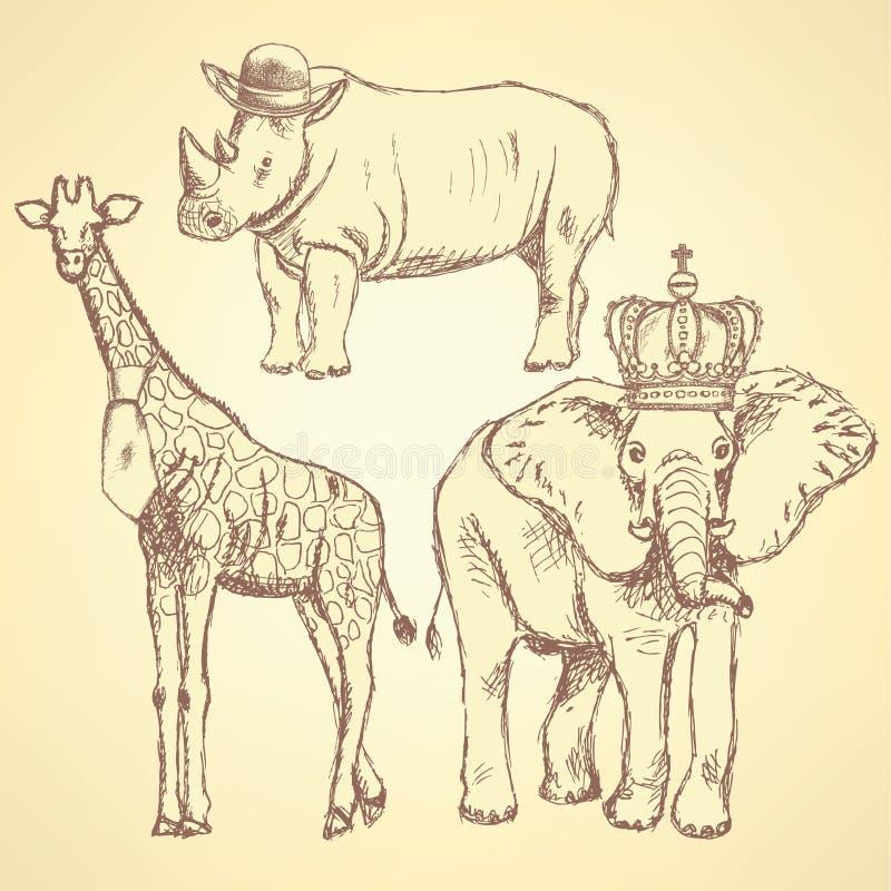 Hipster animals, vector vintage background. Eps 10 vector illustration