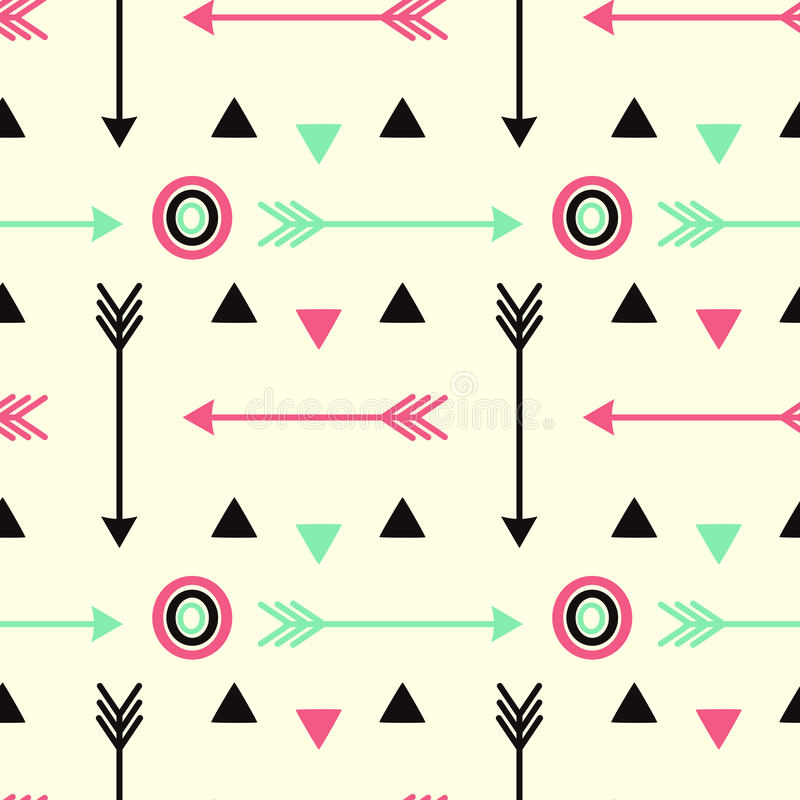 Hipster arrows pink black and fluorescent green with circles seamless pattern background illustration vector illustration