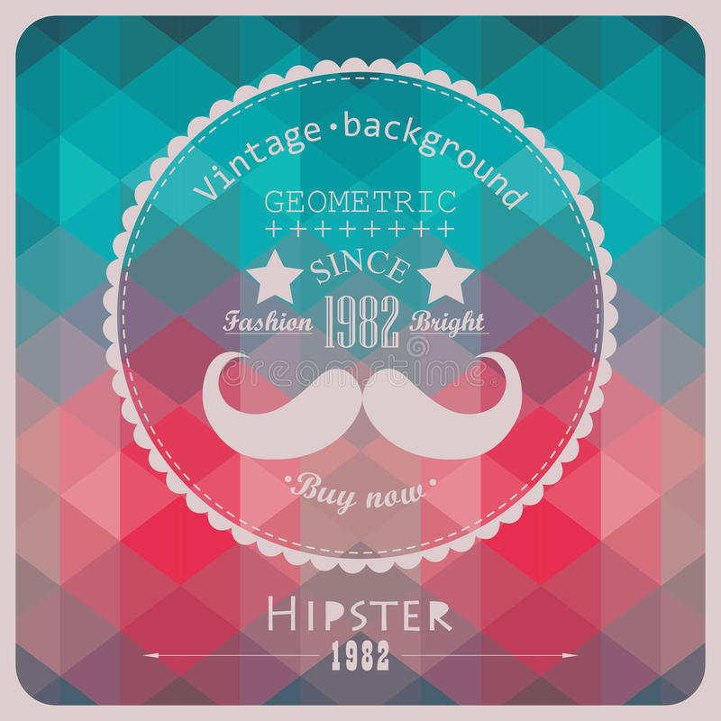 Hipster background made of triangles. Retro label design. Square stock illustration