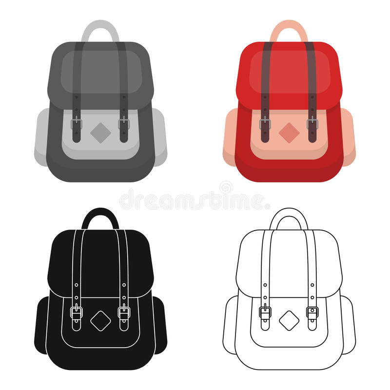 Hipster backpack icon in cartoon style isolated on white background. Hipster style symbol stock vector illustration. Hipster backpack icon in cartoon design stock illustration