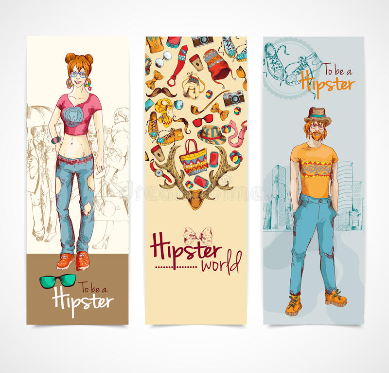 Hipster banners vertical. Hipster world colored sketch vertical banners set with boy and girl isolated vector illustration royalty free illustration
