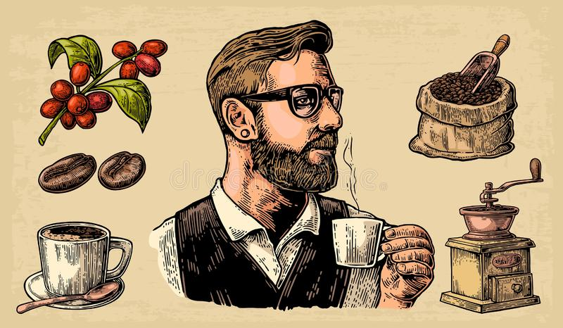 Hipster barista holding a cup of hot coffee Sack with coffee beans with wooden scoop and beans, cup, branch with leaf and berry. Hipster barista holding a cup stock illustration