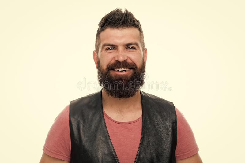 Hipster with beard brutal guy. Masculinity concept. Barber shop and beard grooming. Styling beard and moustache. Fashion royalty free stock photos