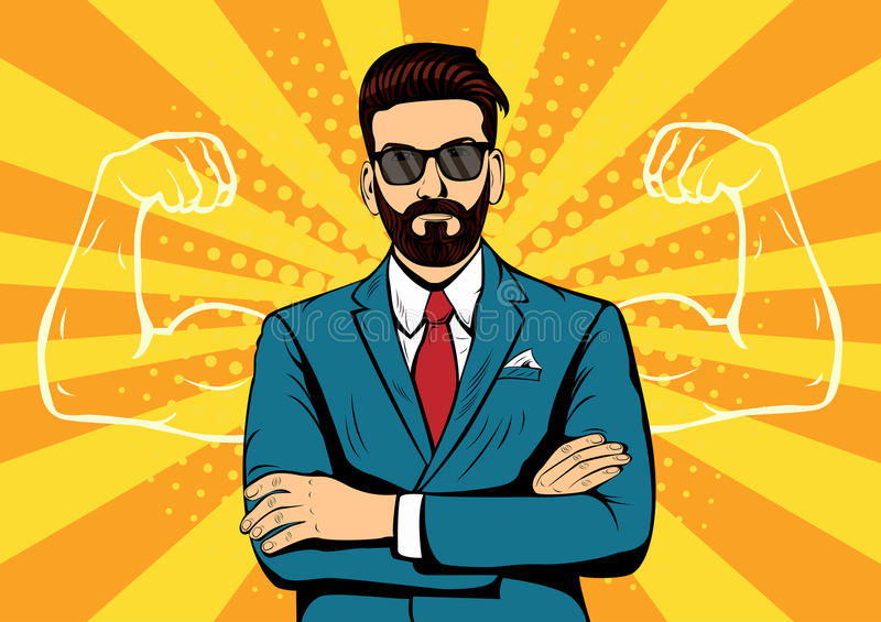 Hipster beard businessman with muscles pop art illustration. Hipster beard businessman with muscles currency dollar pop art retro style. Strong Businessman in stock illustration