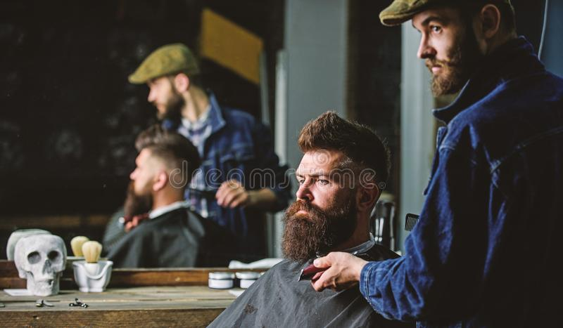 Hipster with beard covered with cape serving by professional barber in stylish barbershop. Grooming concept. Barber busy. With grooming beard of hipster client royalty free stock photo