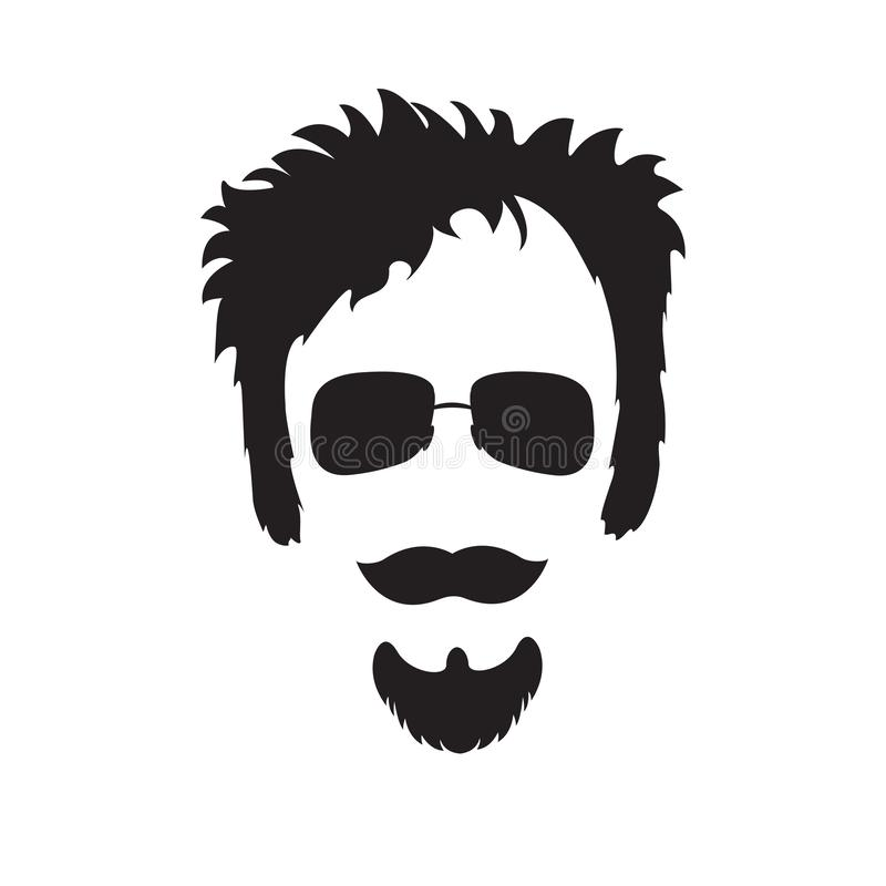 Hipster. Beard, mustache, accessories. Cartoon character without faces. Vector black  in flat sty stock illustration