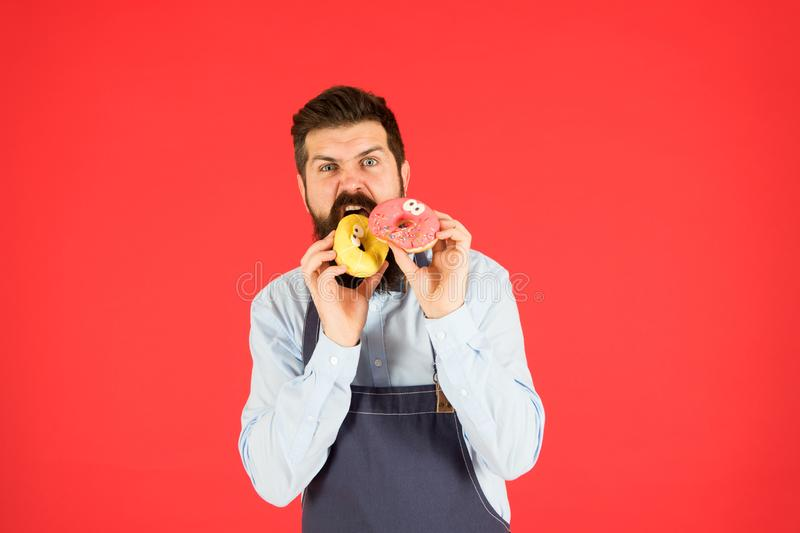 Hipster bearded baker eat donuts. Doughnut bakery. Bearded cheerful well groomed man selling donuts. Carbs and calories royalty free stock photo