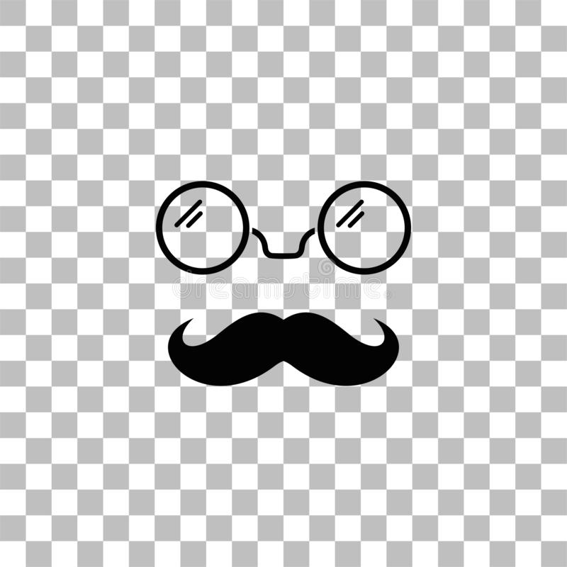 Hipster icon flat. Hipster. Black flat icon on a transparent background. Pictogram for your project royalty free illustration