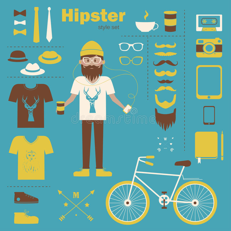 Hipster boy infographic concept background with ic stock illustration