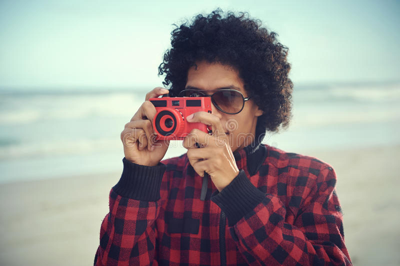 Hipster camera man stock image