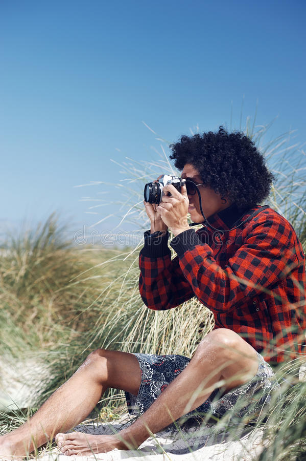 Hipster camera man stock images