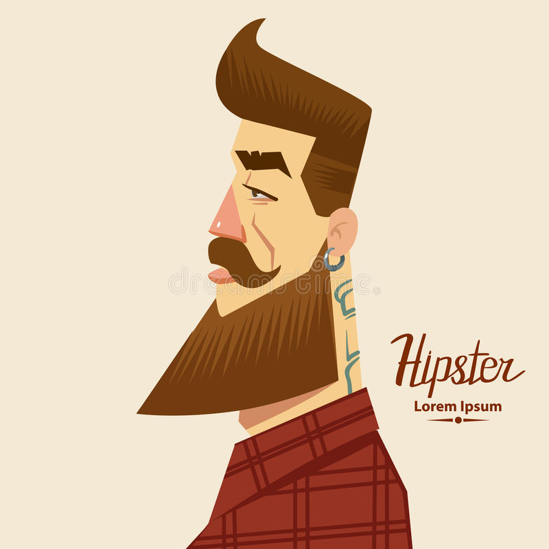Hipster2. Cartoon character, hipster label badge, simple iilustration, man, profile view
