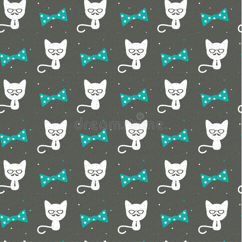 Download Hipster Cat On Gray Seamless Background Stock Vector