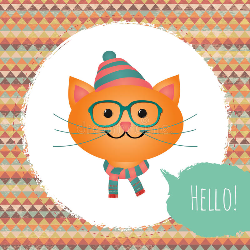 Download Hipster Cat In Textured Frame Design Illustration Stock Vector