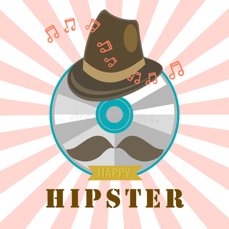Hipster cd and music badge and label. Vector design royalty free illustration
