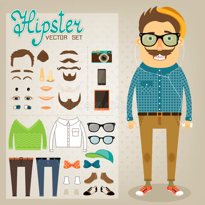 Download Hipster Character Pack For Geek Boy Stock Vector - Image: 36936562