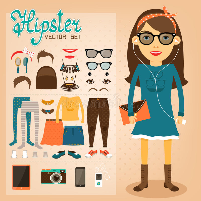 Hipster character pack for geek girl. With accessory clothing and facial elements vector illustration stock illustration