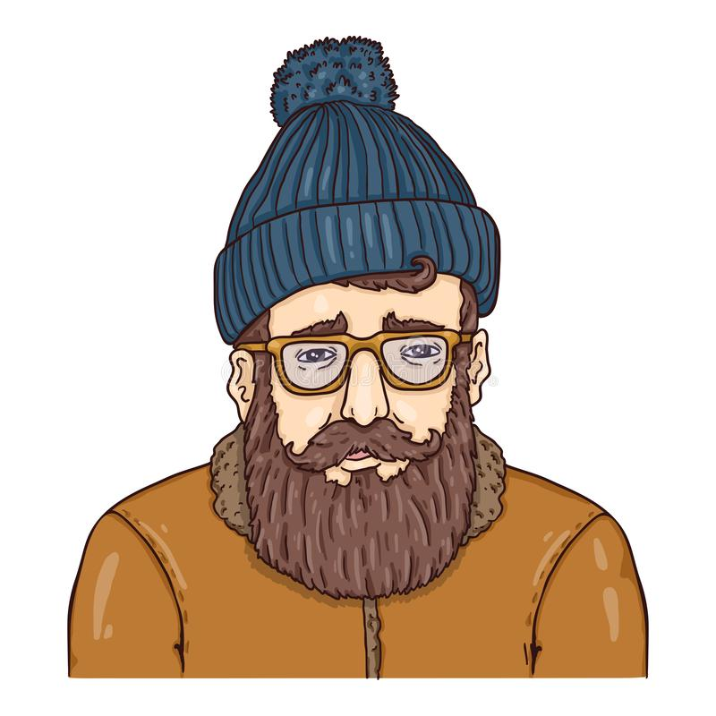 Hipster Character in Woolen Hat, Eyeglasses and Winter Jacket royalty free stock photos