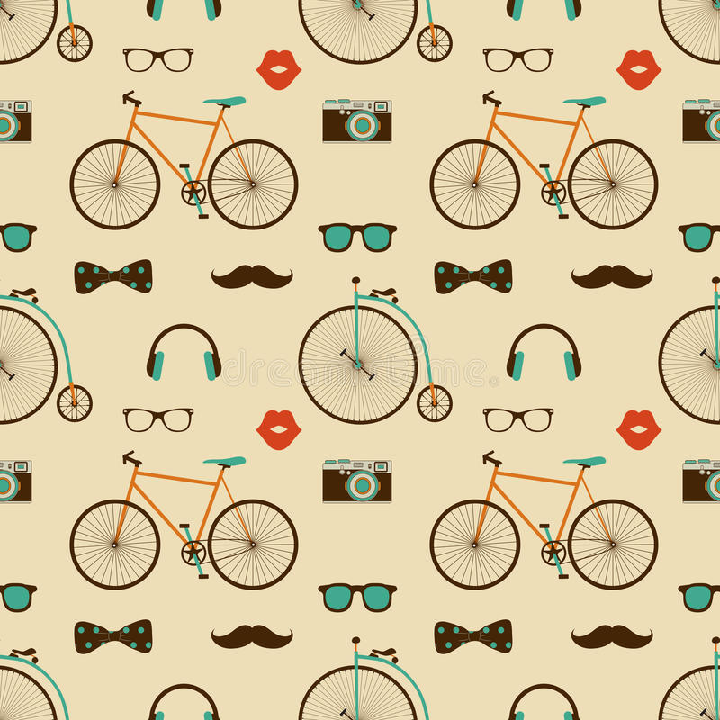 Hipster Colorful Seamless Pattern vector illustration