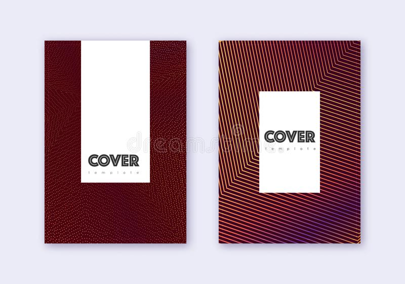 Hipster cover design template set. Orange abstract. Lines on wine red background. Classic cover design. Posh catalog, poster, book template etc vector illustration