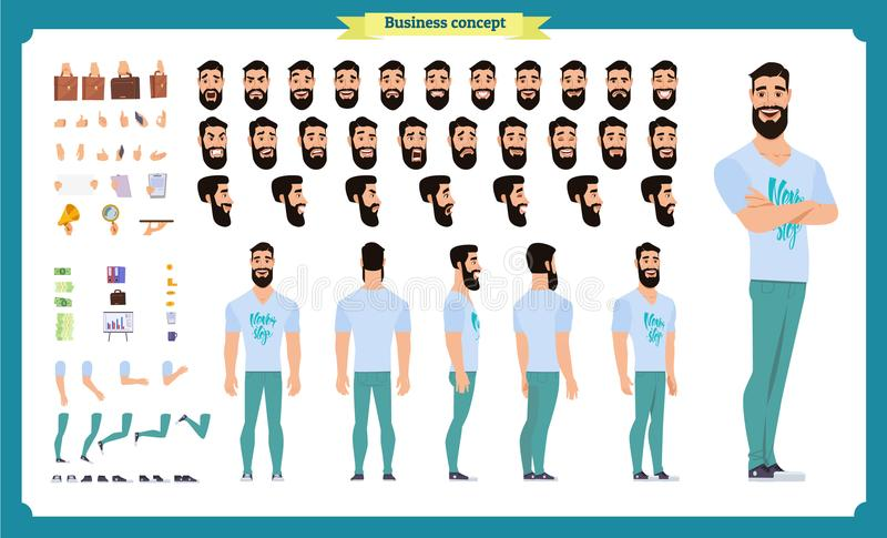 Hipster creation kit. Set of flat male cartoon character body parts, hairstyles, trendy clothing, royalty free illustration