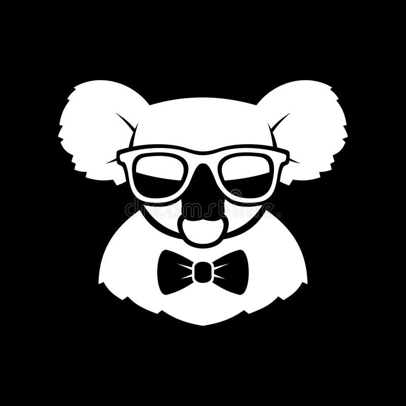 Hipster Cute Koala in Glasses and Bow Tie. Simple Logo Sign. Vector royalty free illustration