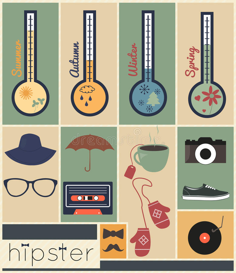 Hipster design season set stock illustration