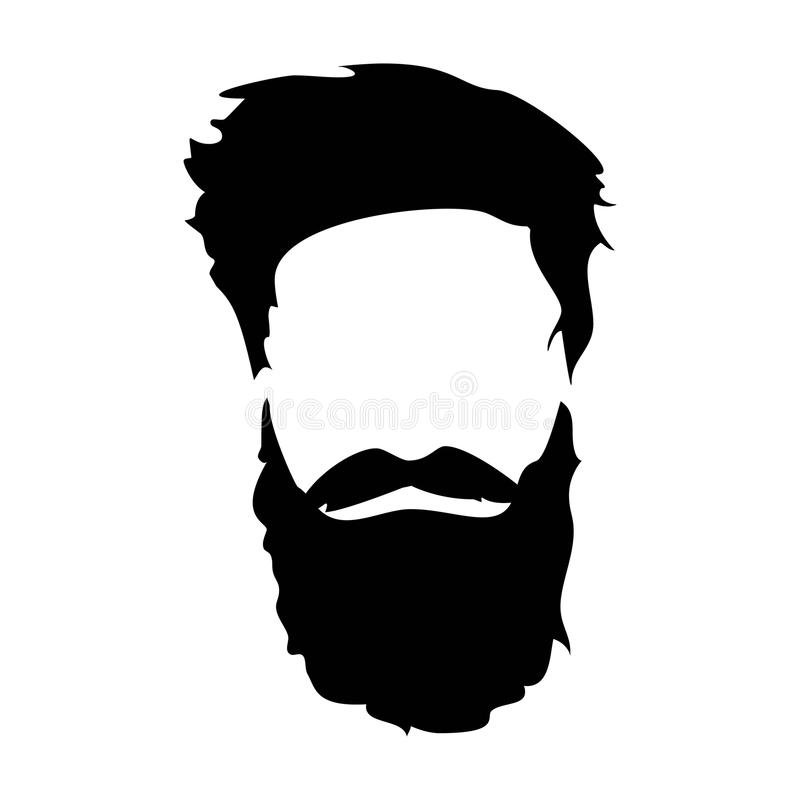 Hipster detailed hair and beards set. Fashion bearded man. Long beard with facial hair. Beard isolated on white. Hipster detailed hat and beards. Fashion bearded stock illustration
