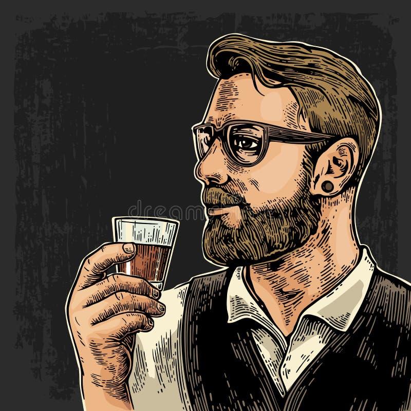 Hipster die een glas rum houden stock illustratie