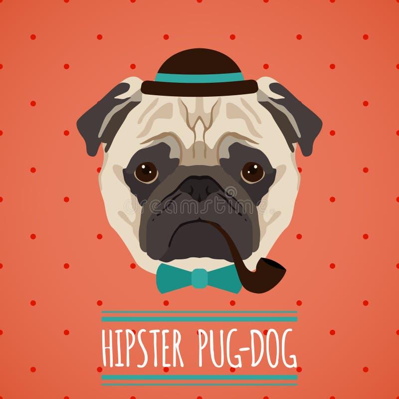 Hipster dog portrait vector illustration