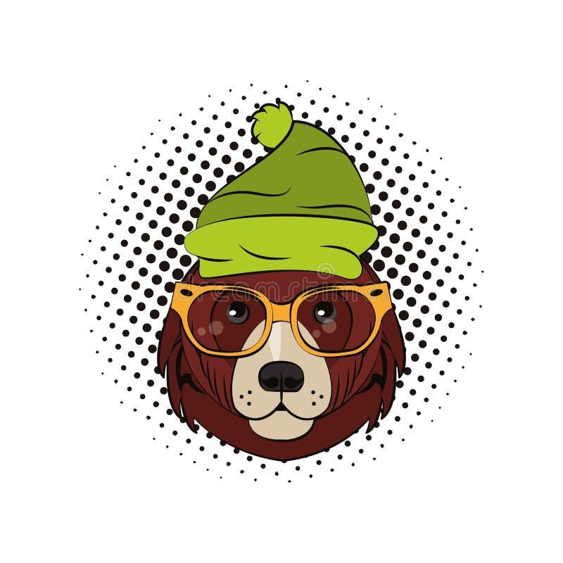 Hipster draagt koele schets royalty-vrije illustratie