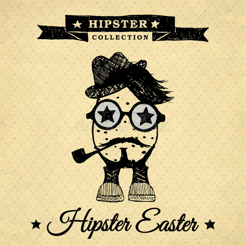 Hipster Easter egg with pipe - vintage stock photo